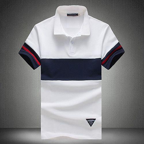 Men S Active Plus Size Cotton Polo Striped Black White Classic