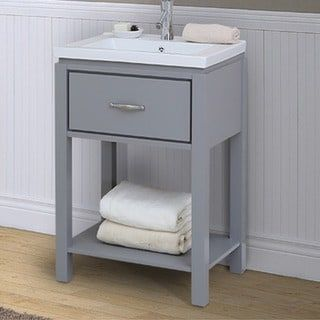 24 Inch Extra Thick Ceramic Sink Top Single Sink Bathroom Vanity