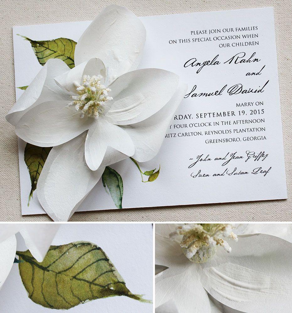 Angela G White Magnolia Wedding Invitations Flower Wedding Invitation Magnolia Wedding Invitations Flower Invitation