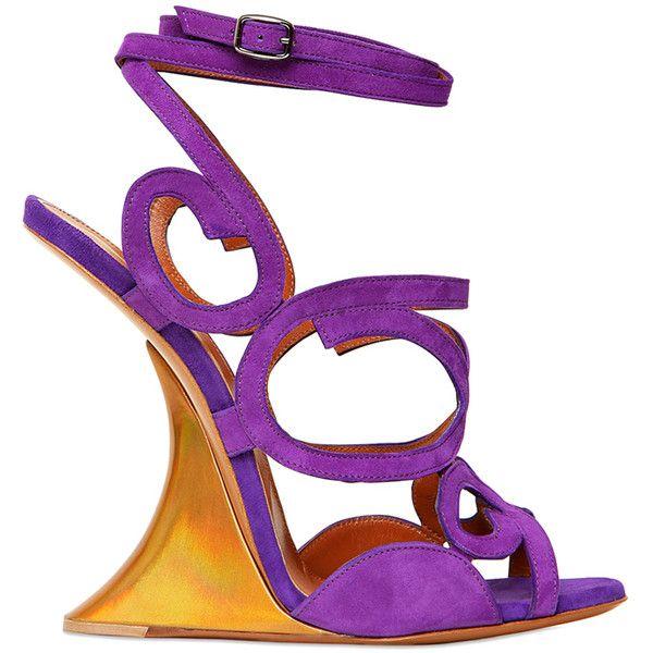 EDMUNDO CASTILLO 120mm Iridescent Suede Wedged Sandals (€760) found on Polyvore