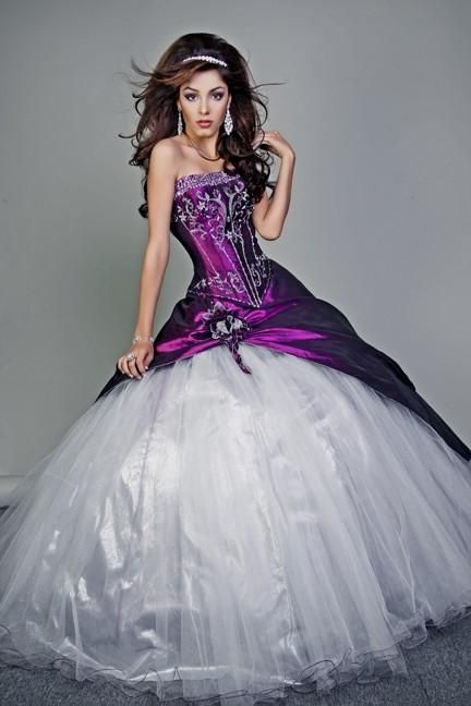 Plus Size Purple And White Wedding Dresses Mother From The