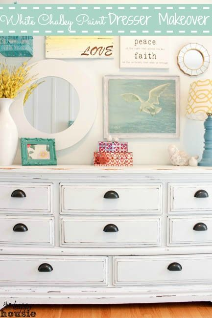 White Chalky Paint Dresser Makeover Chalky paint, Dresser and
