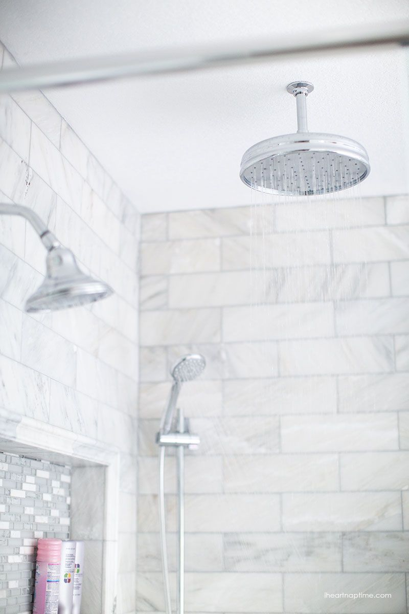 Bathroom makeover via i heart naptime grey and white for White bathroom tile ideas