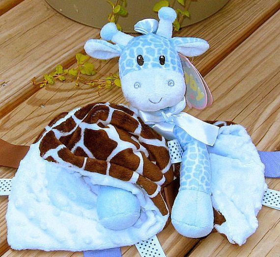 Personalized Baby Lovey With Giraffe Toy Minky Blue Brown Giraffe