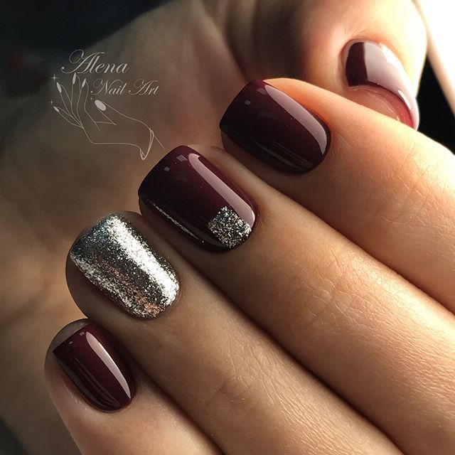 Squoval Wine Red Nails Wine Nails Prom Nails Silver Squoval Nails