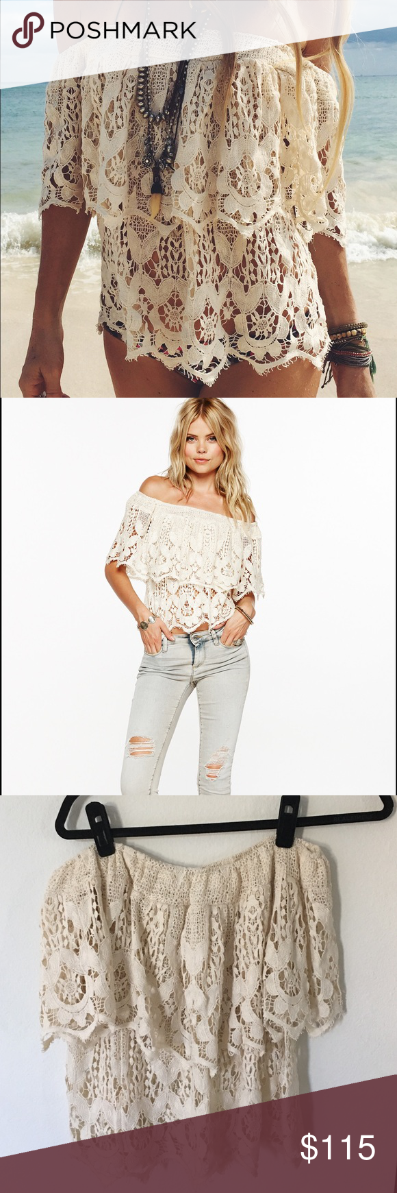 Jen's Pirate Booty Lace off the shoulder top Off the shoulder all over lace top. See through. Jen's Pirate Booty Tops Blouses