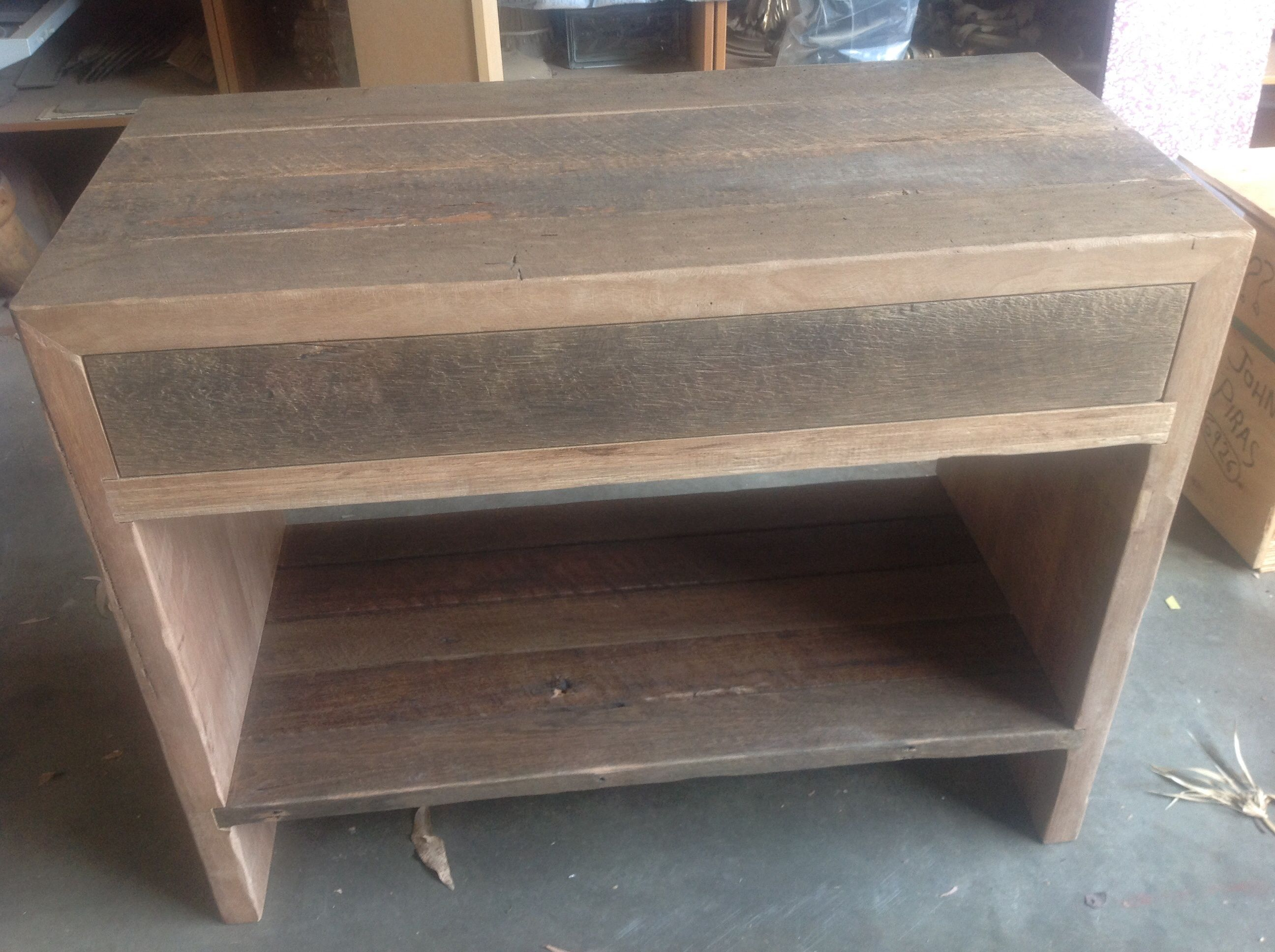 Made to order recycled timber bathroom vanity for customer