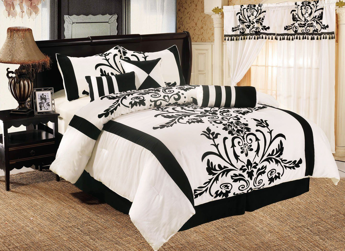 Chezmoi Collection White With Black Floral Flocking Comforter Set