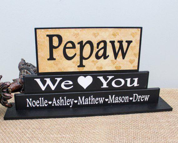 Personalized Pepaw Gift from Grandkids, Grandparents Day Gift, PawPaw Wood Sign, Nonno Father's Day Gift #grandparentsdaygifts