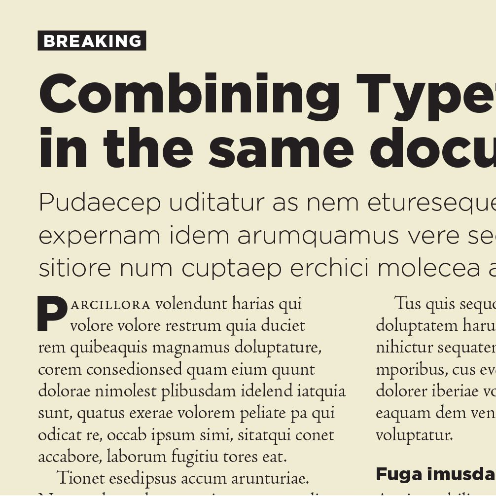Combining fonts: successfully, and unsuccessfully  An