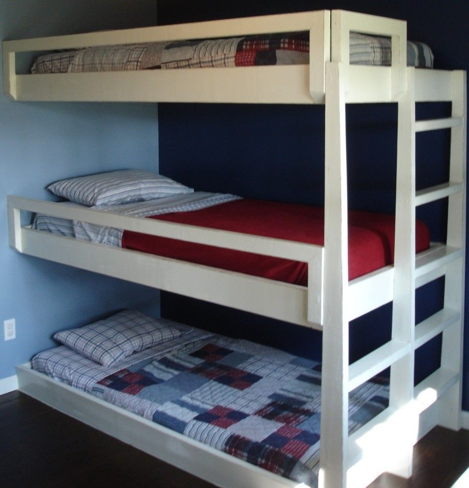 Bedroom modern handymade triple bunk beds design ideas for Modern bunk beds for kids