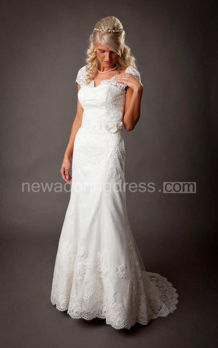 V neck cap sleeve long mermaid wedding dress with atlas lace skirt