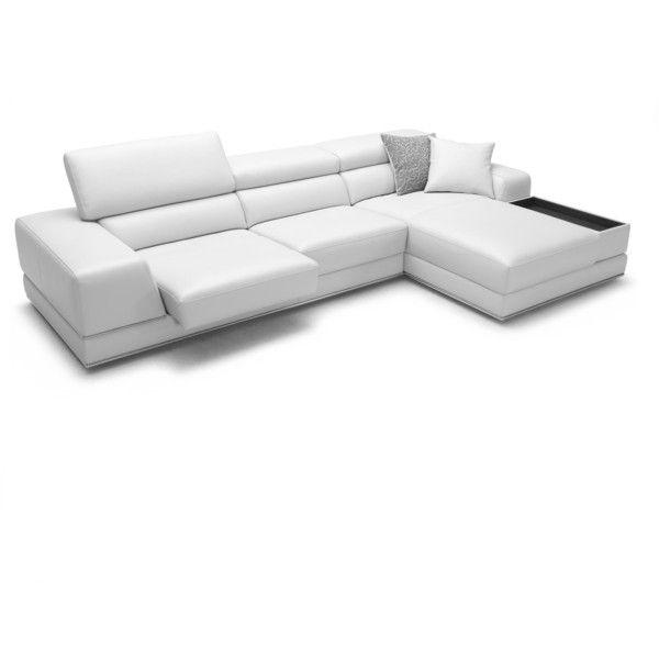 Bergamo Sectional Leather Modern Sofa White ($2,990) ❤ liked on ...