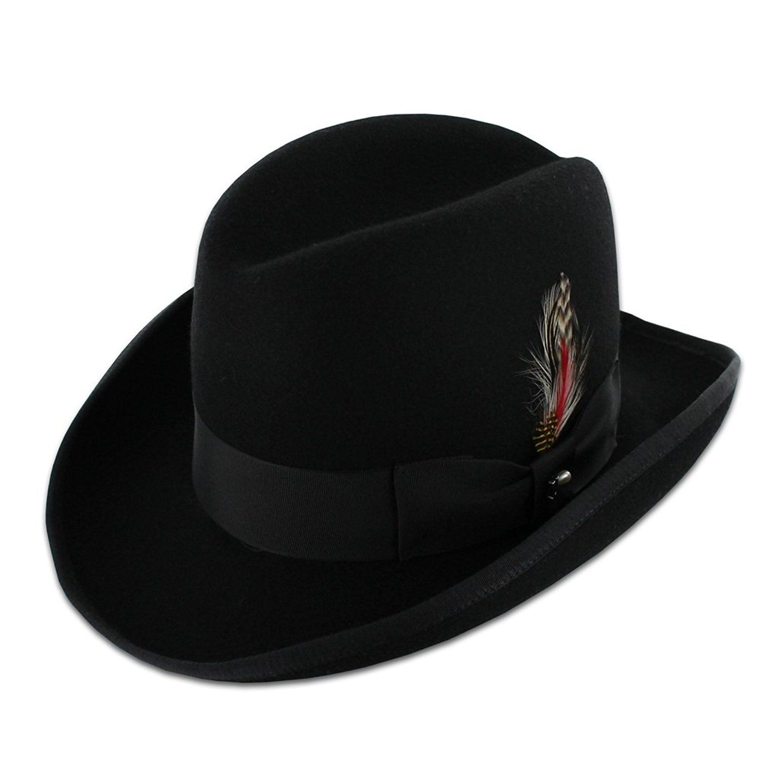 Belfry Wallace Men s 100% Wool Felt Homburg Hat in Black Made in the USA at  Amazon Men s Clothing store  Fedoras eaa8f6aa45c5