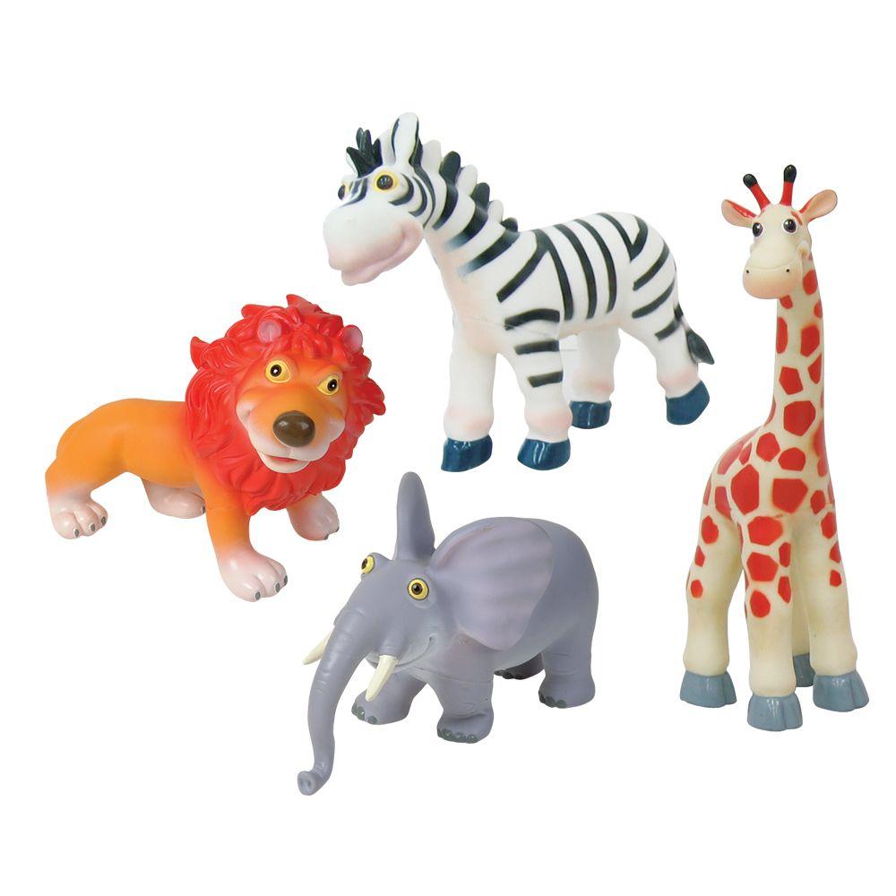 4 Zoo Animal Bath Buddies Including Lion Elephant Zebra