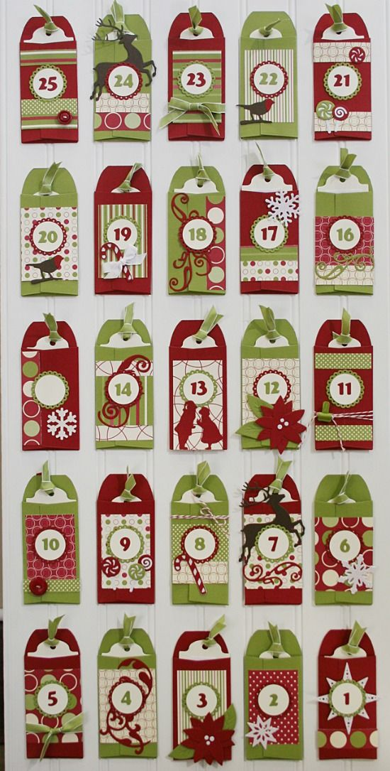 "Christmas advent calendar with service projects to do on each ""tag"". Too cute."