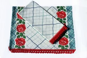 Granny Rose Blue Crochet Edge Tea Towel Gift Collection