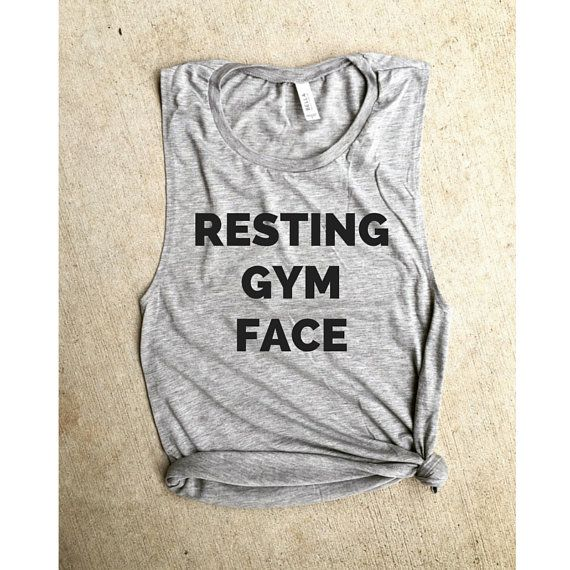 Gym Junkie Towel: Resting Gym Face Light Gray Muscle Tee, Funny Workout Tank
