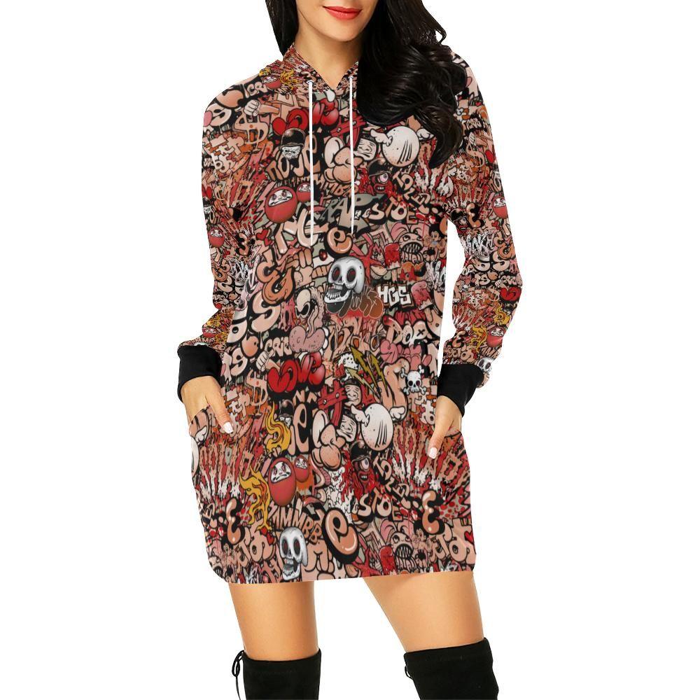 Graffiti womens all over print hoodie mini dress