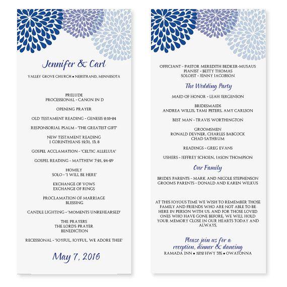 Wedding Program Template - Chrysanthemum (Blue) Tea Length