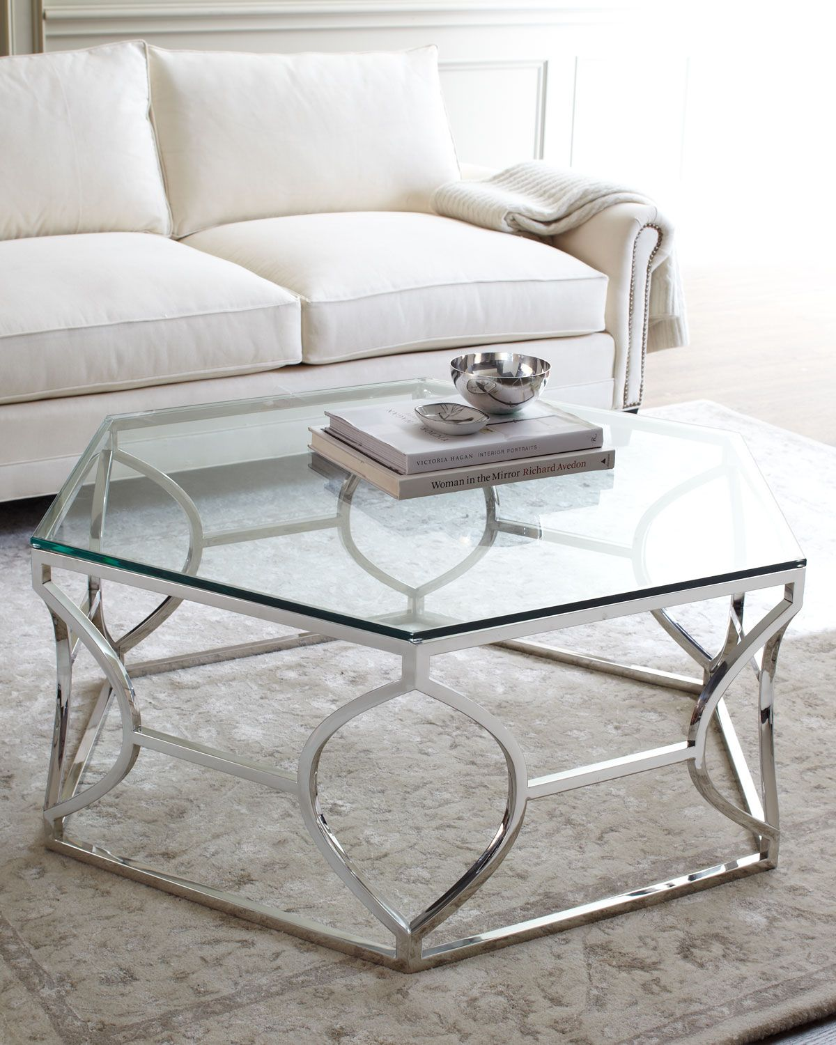 Glass coffee table in living room paxton