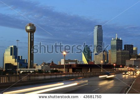 Downtown Dallas Texas At Night Just After Sunset Traffic Is