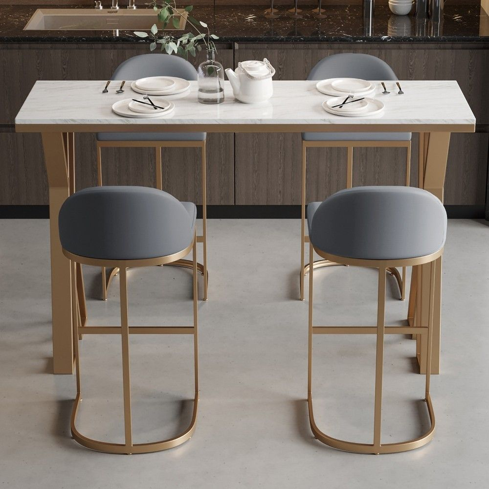 Gray Pu Leather Upholstered Bar Stool In Gold Set Of 2 Upholstered Bar Stools Bar Stools Contemporary Bar Stools