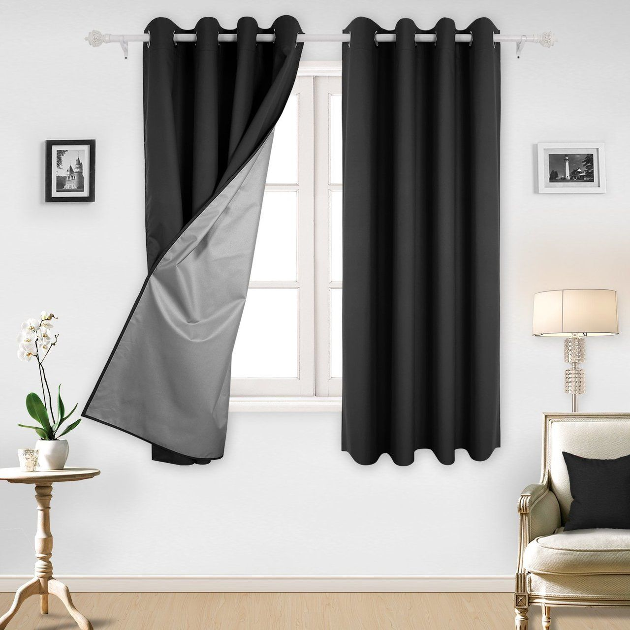 Grommet Top Thermal Insulated Blackout Curtains With Silver