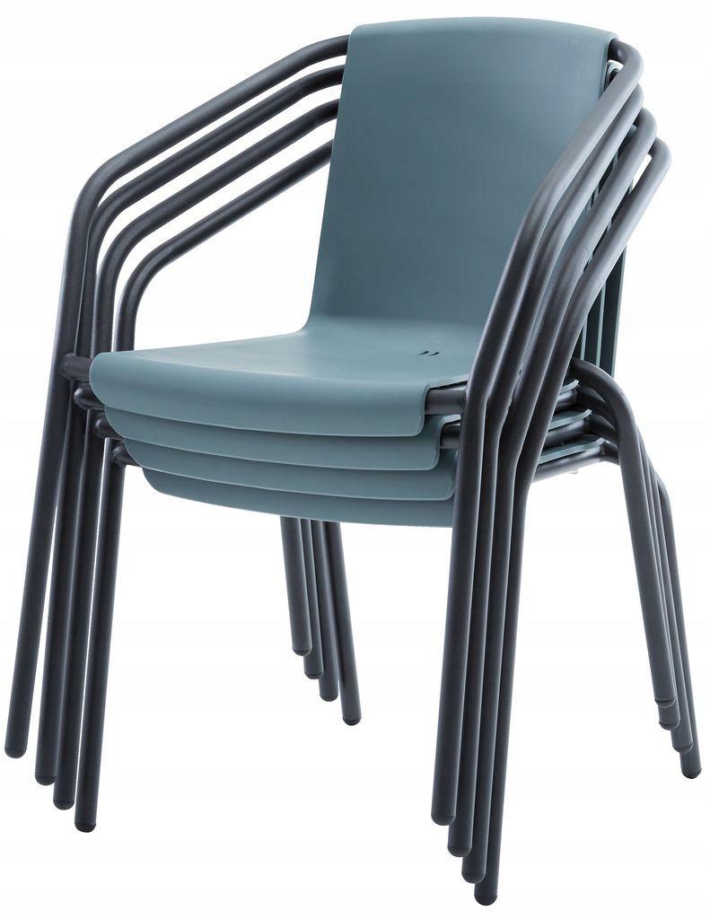Tarasowe Balkonowe Szare Krzesło Ogrodowe Plastik Osiek W