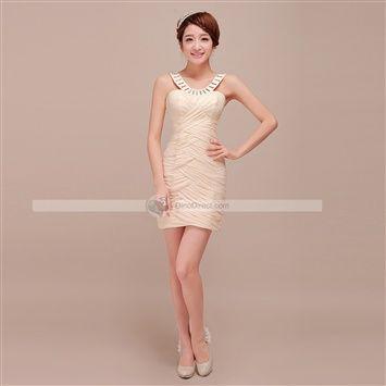 Benana™ New Elegant Beaded Ruffle Chiffon Strap Short Bridesmaid Dresses