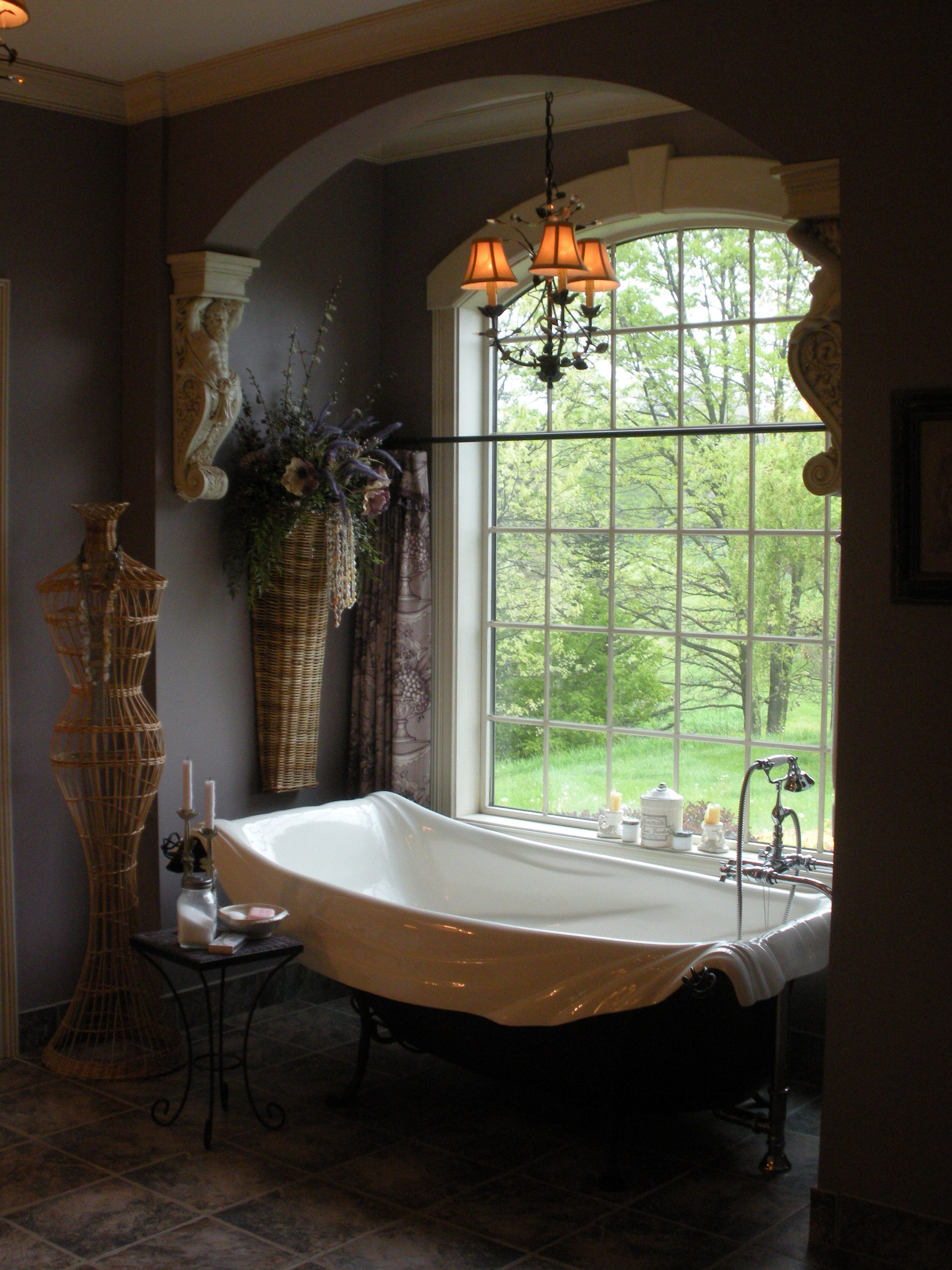 Bedroom Bathroom Beautiful Design And Decoration Of: Marat-like Bath With White Swags Of Porcelain...and A View