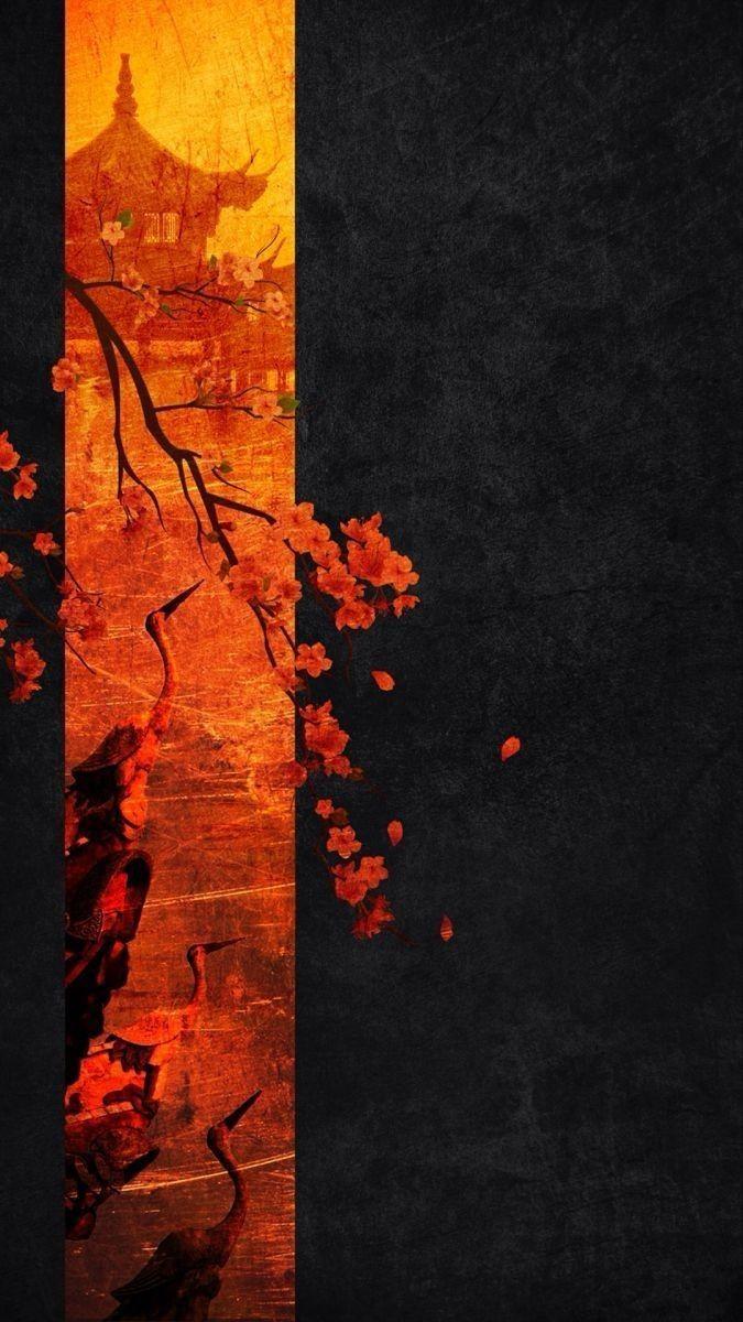 Japanese temple. #wallpaper #papel #parede #tela #fundo #bloqueio #templo #sakura #arvore #flor #art