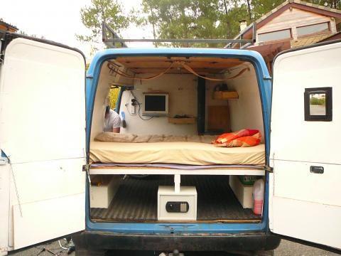 van converted into camper camper van pinterest platform bed storage van and chat post. Black Bedroom Furniture Sets. Home Design Ideas