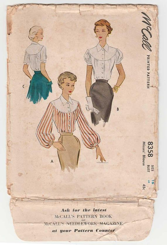Women\'s Blouse Sewing Pattern Misses Size 16 Bust 34 UNCUT Vintage ...