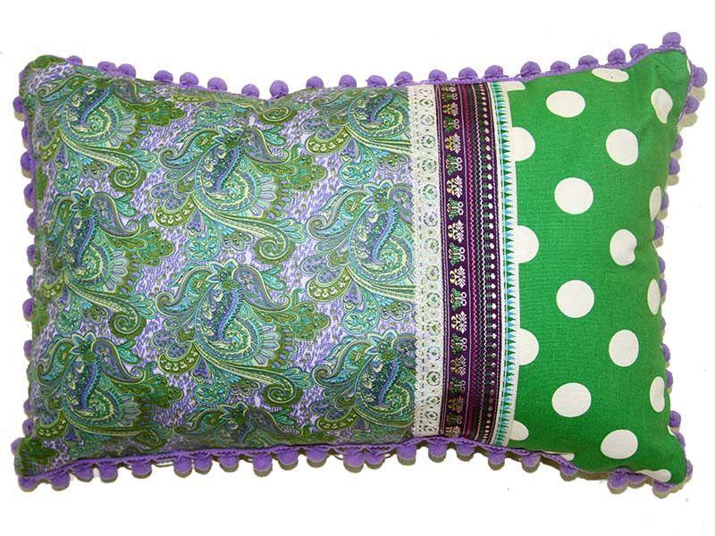 85ebea063177 18156 Green Dots Lavender Paisley Print Cushion