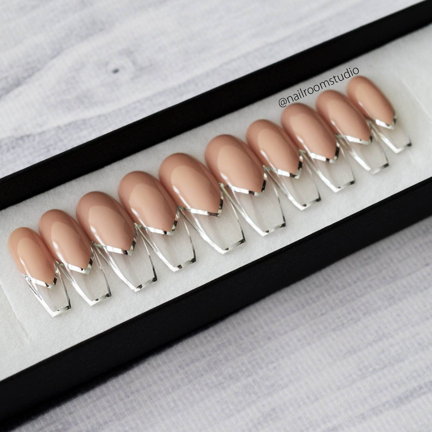 NUDE FRAME FRENCH exclusive 10 press on nails  silver gold   Etsy
