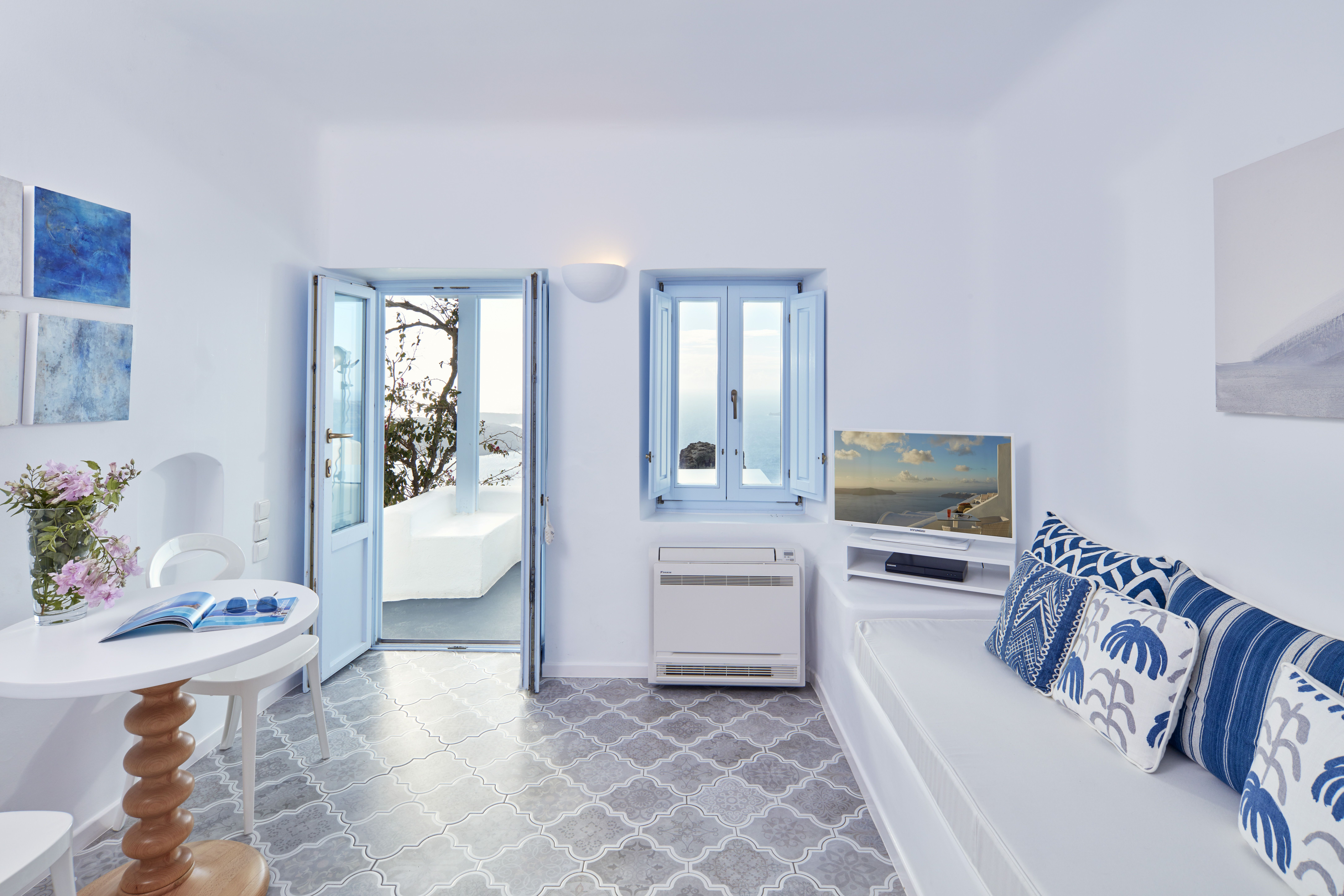 Greek Cycladic Architecture Tradition Hotel Design Project Blue White Colours Archilovers Interior Design Living Room Decoration Fabrics Patterns