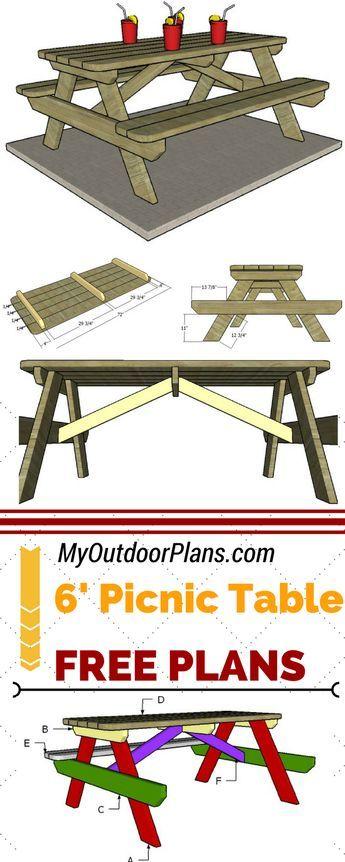 6 Foot Picnic Table Plans Diy Picnic Table Picnic Table Plans Picnic Table