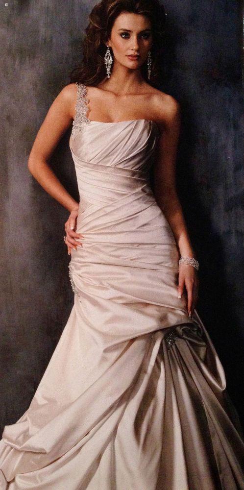 Maggie Sottero Fiorella A-line Satin wedding dress size 10 in Pearl