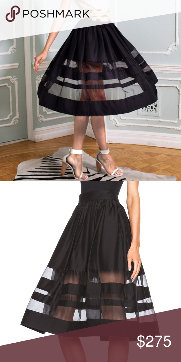 alice + olivia Black Misty Skirt Mesh Striped Item info // + elastic waist  with zipper + mesh fabric detail along bottom + circle style skirt + sold  out ...