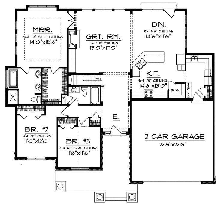 Open concept floor plan for ranch with spacious interior for Free single family home floor plans