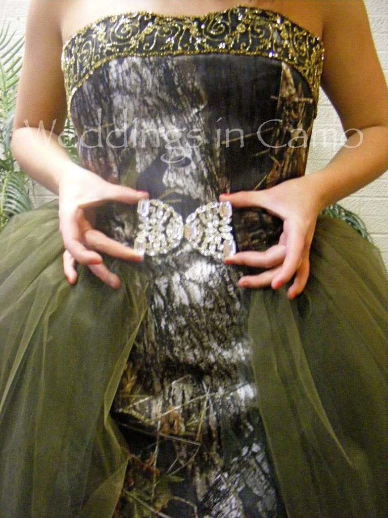 bc06393c7e9 Weddings in Camo - Exclusively Made in the USA-Bridal Attire Camo Ball Gown  with Rhinestone Buckle
