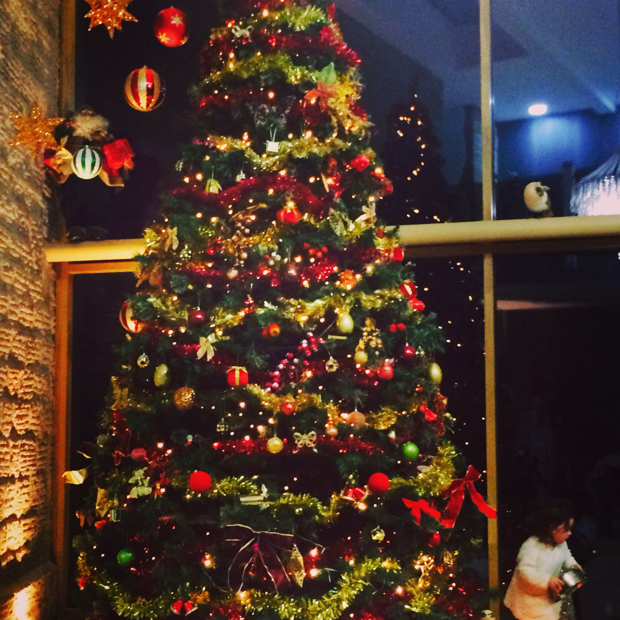 My 12ft Christmas tree took pride in the atrium at Christmas