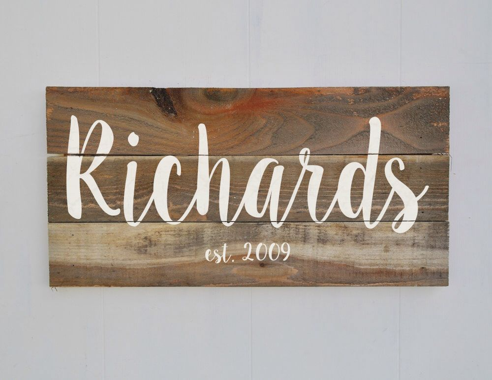 Wooden Decor Signs Last Name Sign Family Established Sign Personalized Family Name