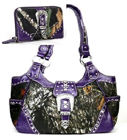 Western Purple Camouflage Buckle Concealed Purse W Matching Wallet  #HBM #Hobo