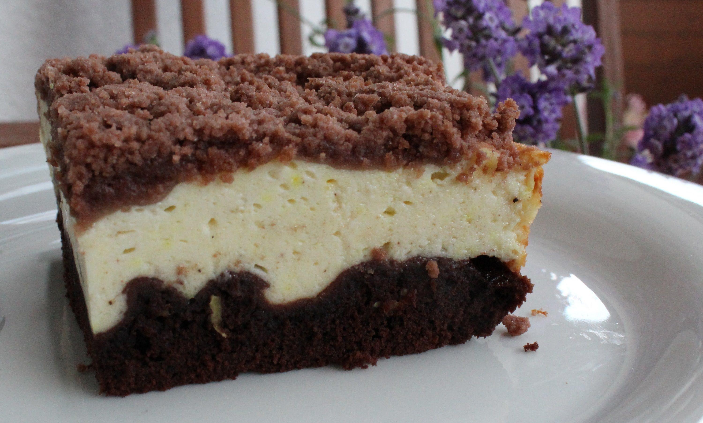 Schoko Käse Kuchen mit Vanillepudding und Quark