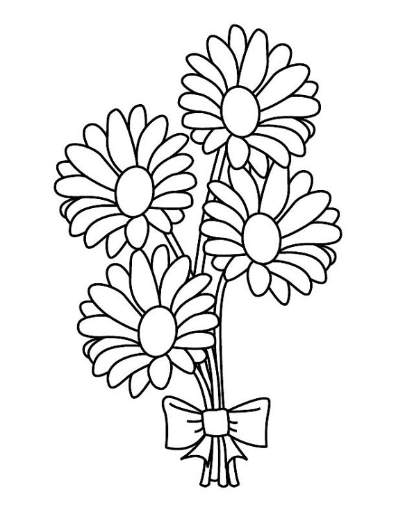 Daisy Bouquet Coloring Page Etsy In 2021 Flower Coloring Pages Free Coloring Pages Coloring Books