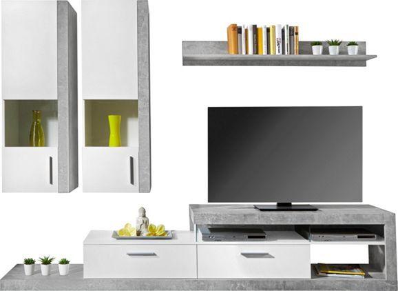 Vitrinkombinacio Betonszurke Es Alpesi Feher Dekor Kombinacioban 4 Reszes Sze X2f Ma X2f Me Kb 260 X2f 190 X2f 42cm House Apartment Living Room