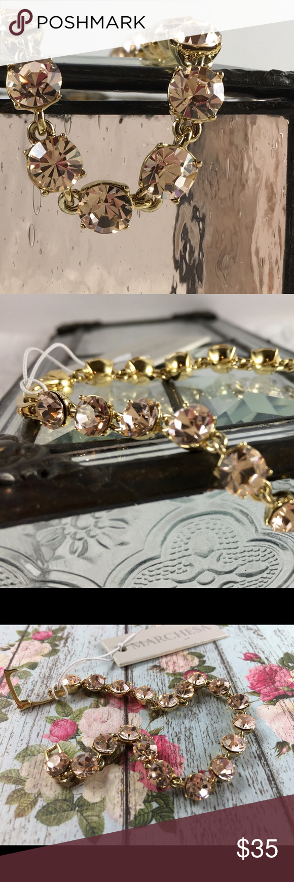 BLUSH COLORED Marchesa tennis bracelet Marchesa tennis bracelet. Prong set blush colored faceted stones, gold tone hardware. It is impossible to catch the insane amount of sparkle with the camera. It would be the PERFECT bracelet for a bride or as a guest at a spring wedding. ABSOLUTELY BEAUTIFUL! Marchesa Jewelry Bracelets