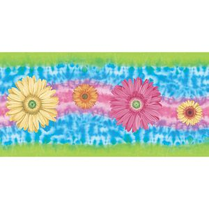 Blue Mountain Daisy Tie Dye Wallpaper Border Tie dye